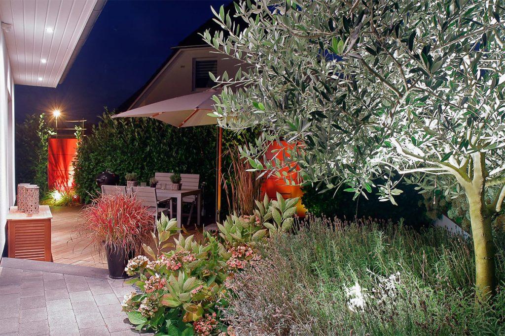 Beleuchteter Garten mit vielen Pflanzen von Plan2Grün
