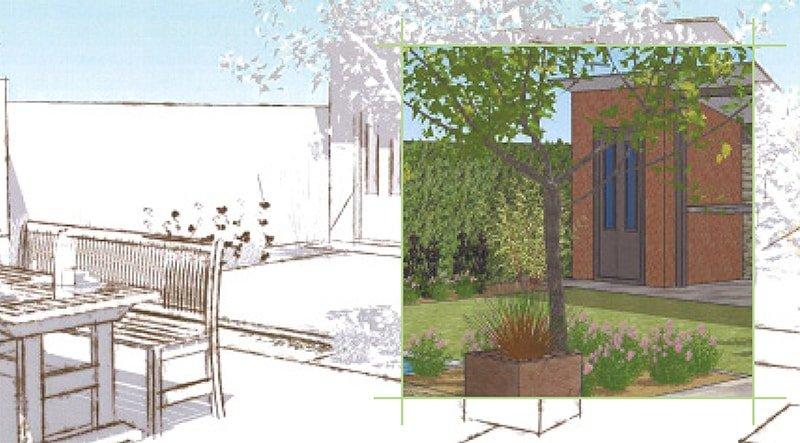 Skizze einer Gartenbauplanung von Plan2Grün