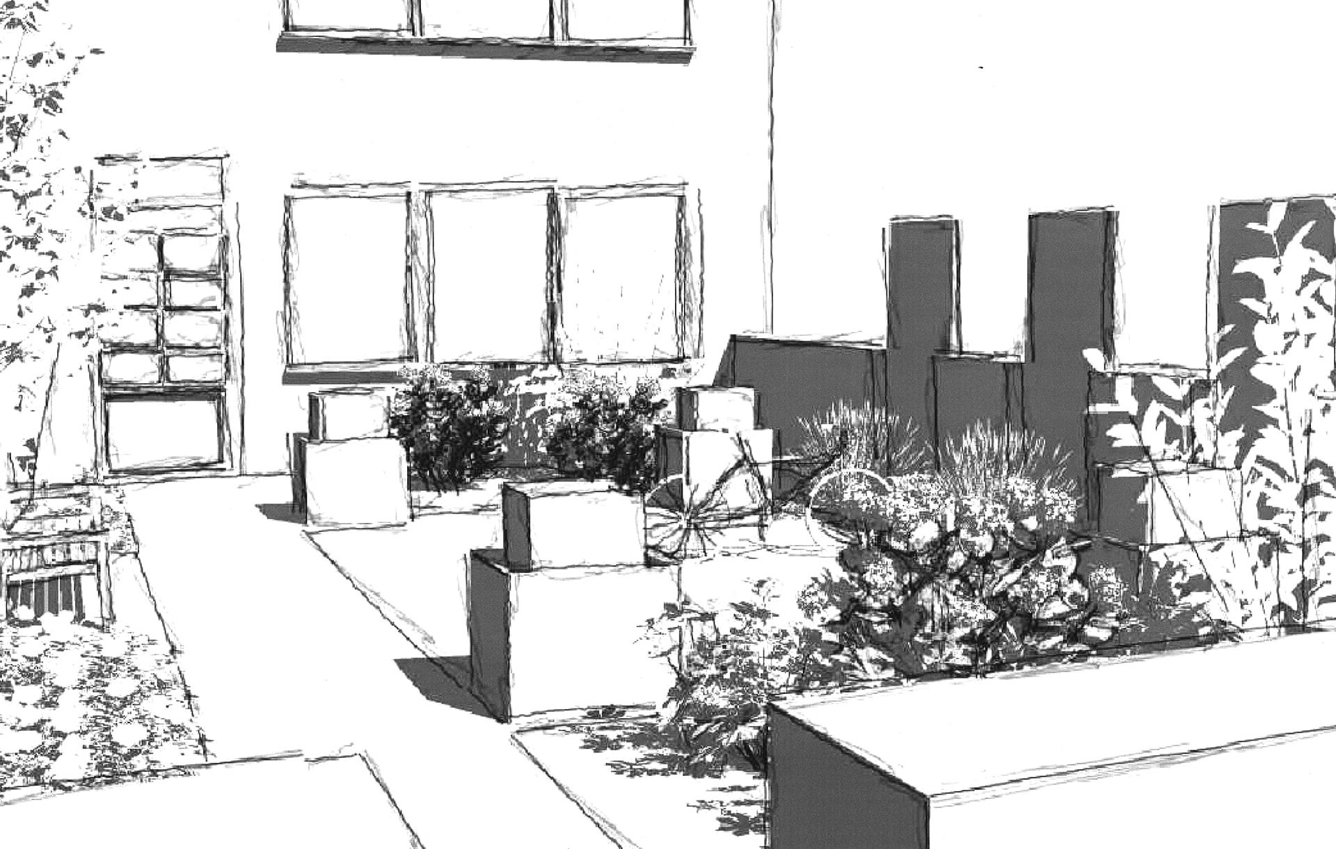 Grobe Skizze einer Gartenplanung durch Plan2Grün